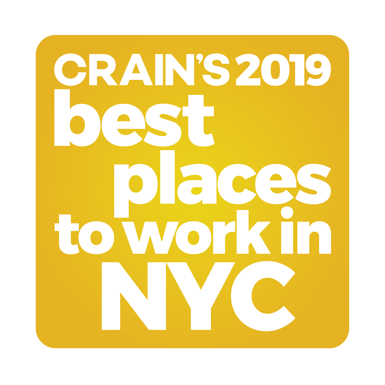 Crain's best places to work in NYC 2020